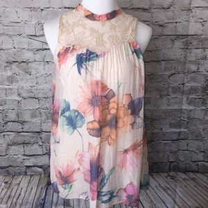 Blue Sand Made in Italy Sleeveless Floral Blouse